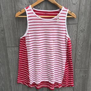 Loft Outlet Red and White Color Block Tank Top